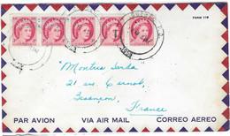 1958 / Enveloppe Avion / 5 Timbres / Cachet Québec P. Q. / Canada - Aéreo