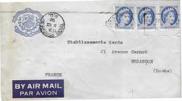 1956 Enveloppe Avion 3 Timbres / Cachet Trois Rivières P. Q. / Canada /Exp Séminaire 3 Rivières Ecusson Religion Patrie - Aéreo
