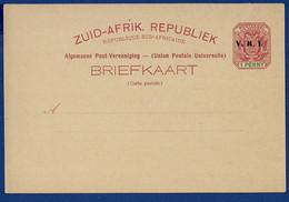 South Africa - ZUID-AFRIK. REPUBLIEK POSTAL CARD 1 PENNY Overprinted V.R.I. - Briefe U. Dokumente