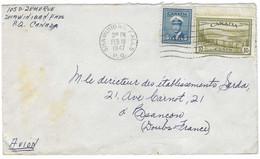 1947 / Enveloppe Avion / Oblit Mécanique Shawinigan Falls P.Q. Canada / Timbre 10 Cents Et 5 Cents - Otros