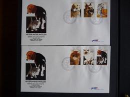 (4)   NEDERLANDSE ANTILLEN 2001 FDC's FAUNA HONDEN KATTEN ZOOGDIEREN DOGS CATS MAMMALS HUNDE KATZE CHATS CHIENS - Antillas Holandesas