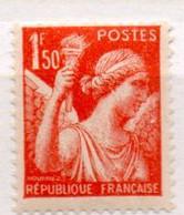 FRANCE N° 435 1F50 ORANGE TYPE IRIS 1 DE 1F50 AMAIGRI NEUF SANS CHARNIERE - Curiosités: 1931-40 Neufs