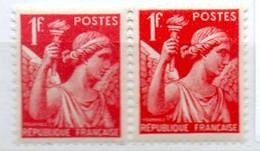 FRANCE N° 433 1F ROUGE TYPE IRIS 2 NUANCES NEUF SANS CHARNIERE - Curiosités: 1931-40 Neufs