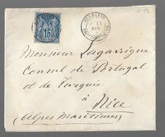 TRAMAYES : 1880 : Cachet à Date Type 19 Sur Sage 15c Bleu ( N°90 ) :  ( Saône Et Loire ) : - 1877-1920: Periodo Semi Moderno