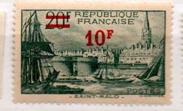 FRANCE N° 492  10F S 20F VERT SAINT MALO PAPIER CREME NEUF SANS CHARNIERE - Curiosités: 1931-40 Neufs