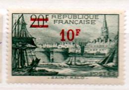 FRANCE N° 492  10F S 20F VERT SAINT MALO PAPIER BLANC  NEUF SANS CHARNIERE - Curiosités: 1931-40 Neufs