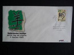 (4)  NEDERLANDSE ANTILLEN 2003 FDC'S 343+Afb E343+A FAUNA ZOOGDIEREN GEIT CHINESE LUNAR YEAR OF THE GOAT MAMMALS - Antillas Holandesas