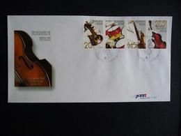 (4)  NEDERLANDSE ANTILLEN 2003 FDC E346 MUZIEKINSTRUMENTEN TROMPET DRUMS TENORSAXOFOON CONTRABAS MUSIC INSTRUMENTS - Antillas Holandesas