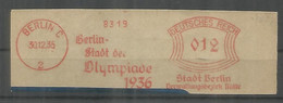 ALEMANIA 3 REICH 1936 JUEGOS OLIMPICOS BERLIN OLYMPIC GAMES METER FRANQUEO MECANICO - Sommer 1936: Berlin