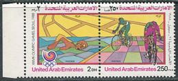 United Arab Emirates 1988. Mi.#259/60 MNH/Luxe. Sport. Summer OG, Seoul-88. Cycling (Ts22) - Sommer 1988: Seoul