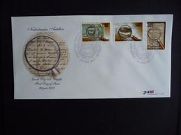 (4)  NEDERLANDSE ANTILLEN 2003 FDC E348 CENTRALE BANK LOEP VERGROOTGLAS PAPIERGELD LANDKAART MAP MONEY - Antillas Holandesas