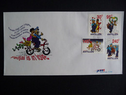 (4)  NEDERLANDSE ANTILLEN 2003 FDC E349 STRIPFIGUREN FIETS POSTBODE BRUILOFT MAILMEN MARRIAGE BICYCLE FAHRRAD - Antillas Holandesas