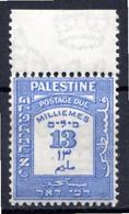 PALESTINE - (Mandat Britannique) - 1924   - Taxe - N° 10 - 13 M. Outremer - Palästina