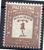 PALESTINE - (Mandat Britannique) - 1924   - Taxe - N° 6 - 1 M. Brun - Palästina