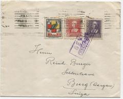Carta De Sevilla A Suiza Censurada, Viñeta De Frentes Y Hospitales - 1931-50 Cartas
