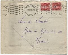 1935 Carta De Zaragoza A Madrid Doble Porte, Rodillo De Lujo - 1931-50 Cartas