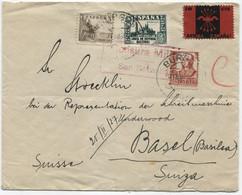 1937 Carta De Burgos A Basilea, Viñeta De Falange - 1931-50 Cartas