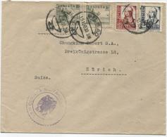 1938 Carta Aérea De Bilbao A Zurich, Dorso Viñeta Frentes Y Hospitales Y Tránsito Por Burgos De Lujo - 1931-50 Cartas