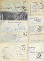 LOT DE 100 CARTES AVEC CACHET MILITAIRE 1914-1918 . TOUTES SCANNEES - WW I
