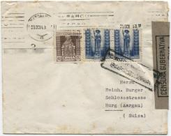 1943 Carta De Barcelona A Suiza, Censuras - 1931-50 Cartas