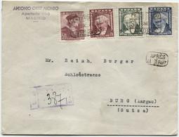 1947 Carta Certificada De Madrid A Suiza, Après Le Départ Y Serie De Goya Completa - 1931-50 Cartas