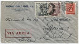 1947 Carta De Correo Aéreo De Barcelona A Zurich.Tasada A La Llegada - 1931-50 Cartas