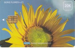 ISN-055 TARJETA DE ESPAÑA DE ISERN DE UN GIRASOL SERIE FLORES Nº 21 (FLOWER-FLOR) - Emisiones Básicas