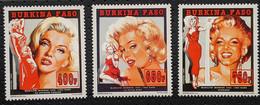 Burkina Faso, 1995, Mi 1350-1353, Entertainers - Marilyn Monroe, 3v + Block 147, MNH - Cinema