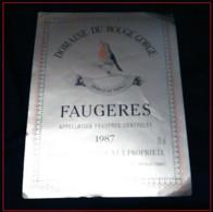 Etiquette De Vin - Domaine Du Rouge Gorge - Faugeres 1987. - Vino Tinto