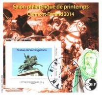 Bloc CNEP YT BF65 Salon Philatélique De Printemps, Statue De Vercingétorix, Clermont-Ferrand 2014, Oblitéré - CNEP