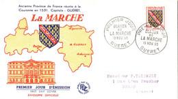 Enveloppe 1er Jour YT 1045 Armoiries/Blason De La Marche 19 11 1955 Guéret (23 Creuse), 2 Scans - 1950-1959