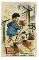 """Carte Illustrée G Bouret """"Dépêche-toi Bobby Si L'on Veut Arriver Les 1ers Pour Présenter Nos Meilleurs Voeux à Nénette"""" - Bouret, Germaine"""