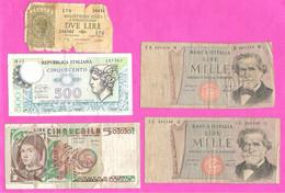 Lot 5 Billets Italie 2/500/1000/5000 Lire Tous états - [ 9] Verzamelingen