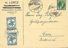 Luxembourg - Luxemburg - Carte-Postale  1935  Cachet Grevenmacher  Envoi Luxembg Vers Graz ( Autriche ) - 1926-39 Charlotte Right-hand Side
