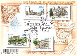Feuillet N° YT F4838 Les Chemins De Saint-Jacques De Compostelle (4838, 4839, 4840 Et 4841) TBE Gomme D'origine - Oblitérés