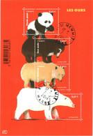 Feuillet N° YT F4844 Les Ours (4844, 4845, 4846 Et 4843) TBE Gomme D'origine Ours Andin, Polaire, Kermode Et Panda Géant - Oblitérés