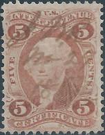 Stati Uniti D'america,United States,U.S.A,1862-71 Internal Revenue Stamp CERTIFICATE  5c Used - Fiscaux