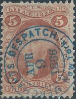 Stati Uniti D'america,United States,U.S.A,1862-71 Internal Revenue Stamp For Exchange,5c Obliterated 1866 Now York - Fiscaux