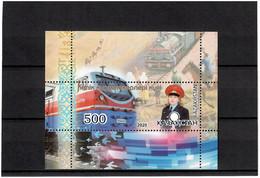 Kazakhstan 2020 . Locomotives. Transport Workers Day. S/S: 500 - Kazakhstan