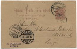 Ed 15. 1889, Entero Postal De Barcelona A Zurich - 1850-1931