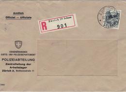 Justiz & Polizeidepartement  Zentralleisung Arbeitslager Beethoven-STrasse Officiel 1943 Reco Zürich Selnau > Rs: Basel - Officials