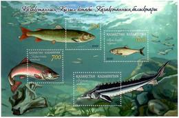Kazakhstan 2020 . Fishes. Red Book. S/S Of 4v: 500, 600, 700, 800 - Kazakhstan