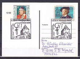Postcard, 'K.Ö.St.V. Nibelungia Melk 1919/1999 3390 Melk' Cancelled - Altri