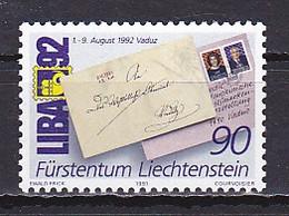 Liechtenstein, 1991, LIBA 92 Stamp Exhib, 90rp, MNH - Unused Stamps