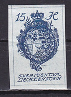 Liechtenstein, 1920, Coat Of Arms/Imperf, 15H, MNH - Unused Stamps