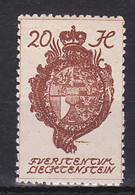 Liechtenstein, 1920, Coat Of Arms, 20H, MH - Unused Stamps