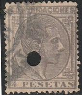 1876. º Edifil: 198T. ALFONSO XII. TALADRADO - Usados
