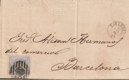 1870-CARTA. Edifil: 107. MATRONA. ZARAGOZA A BARCELONA - Briefe U. Dokumente
