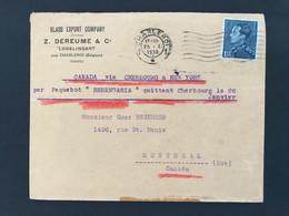 "Briefomslag 1938 OBP 430 1fr75 Poortman Charleroi-Montreal (Ca) - Via Cherbours & NY Par Paquebot ""Berengaria"" - 1936-1951 Poortman"