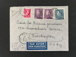 Briefomslag Par Avion 1941 OBP 430 1,75fr Poortman + 431 2fr Poortman (2x) + 528 1fr Leopold III HUY - Washington (USA) - 1936-1951 Poortman